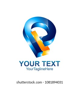 Initial letter PL or LP logo template colored orange blue design for business and company identity