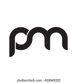 initial letter pm linked round lowercase monogram logo black