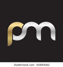 initial letter pm linked round lowercase logo gold silver black background