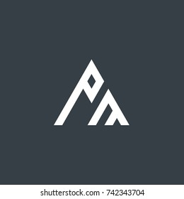 Initial Letter PM Linked Triangle Design Logo