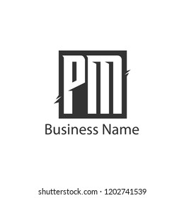 Initial Letter PM Logo Template Design