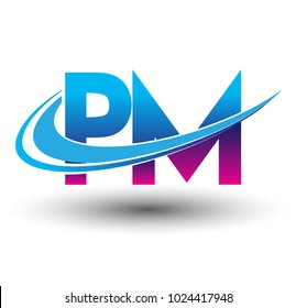 initial letter PM logotype company name colored blue and magenta swoosh design. vector logo for business and company identity.