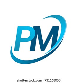 initial letter PM logotype company name colored blue swoosh design concept. vector logo for business and company identity.