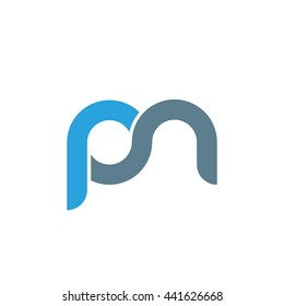 initial letter pn linked round lowercase logo blue