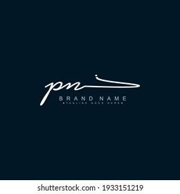 Initial Letter PN Logo - Handwritten Signature Logo