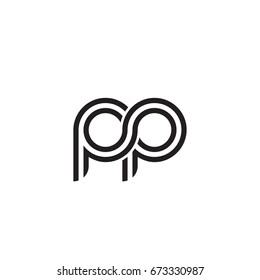 Initial letter pp, linked outline rounded lowercase, monogram black