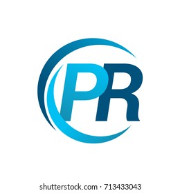 initial letter PR logotype company name blue circle and swoosh design. vector logo for business and company identity.