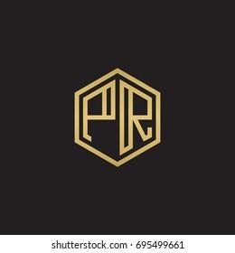 Initial letter PR, minimalist line art hexagon logo, gold color on black background