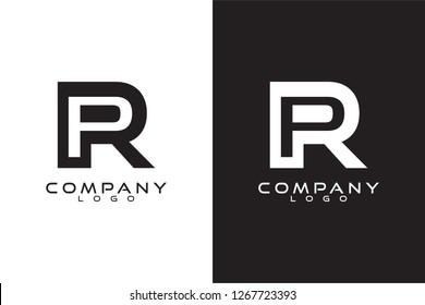 Initial Letter pr/rp Logo Template Vector Design with black and white background