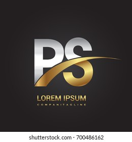 initial letter PS logotype company name colored gold and silver swoosh design. isolated on black background.