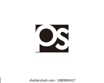 Initial letter ps lowercase logo black and white