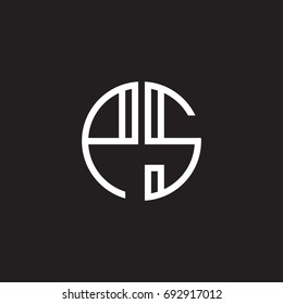 Initial letter PS, minimalist line art monogram circle shape logo, white color on black background