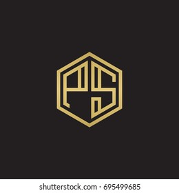 Initial letter PS, minimalist line art hexagon logo, gold color on black background