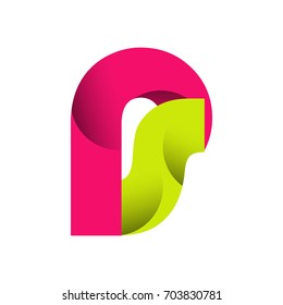 Initial Letter PS Rounded Lowercase Logo. Logo template