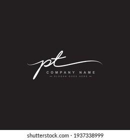 Initial Letter PT Logo - Handwritten Signature Logo