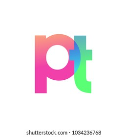 Initial Letter PT Lowercase Logo green, pink and Blue, Modern and Simple Logo Design.