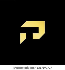 Initial letter PT TP minimalist art logo, gold color on black background.