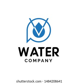 Initial letter PV logo design with water droplet graphics