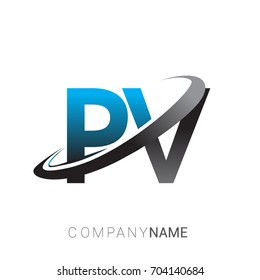 initial letter PV logotype company name colored blue and grey swoosh design. logo design for business and company identity.