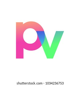 Initial Letter PV Lowercase Logo green, pink and Blue, Modern and Simple Logo Design.
