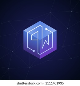 Initial letter PW, block chain, looping mono line circuit letter on hexagon cube logo, blue magenta gradient color on black blue network background