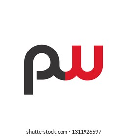 Initial Letter PW Linked Circle Lowercase Logo Black Red Icon Design Template Element - Vector