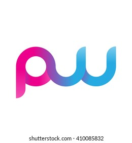 initial letter pw linked round lowercase logo pink blue purple