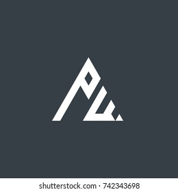 Initial Letter PW Linked Triangle Design Logo