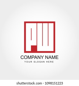 Initial Letter PW  Logo Design