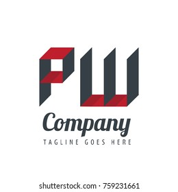 Initial Letter PW Logo With Ribbon Style