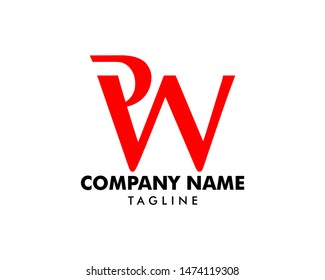 Initial Letter PW Logo Template Design