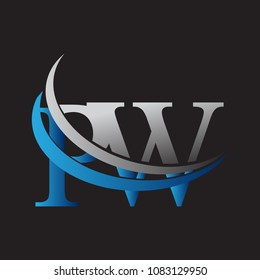 initial letter PW logotype company name colored blue and grey swoosh design. vector logo for business and company identity.