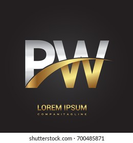 initial letter PW logotype company name colored gold and silver swoosh design. isolated on black background.