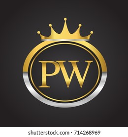 initial letter PW logotype company name with oval shape and crown, gold and silver color. vector logo for business and company identity.