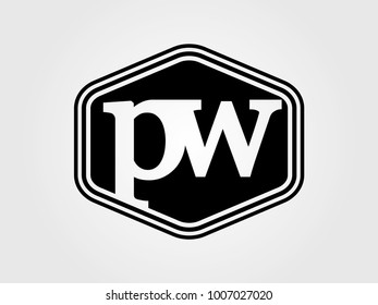 Initial letter pw lowercase logo minimalist black
