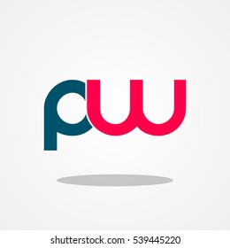 Initial letter PW lowercase logo design template navy magenta