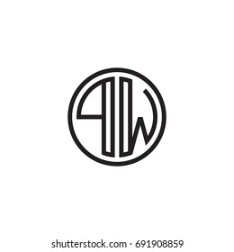 Initial letter PW, minimalist line art monogram circle logo, black color