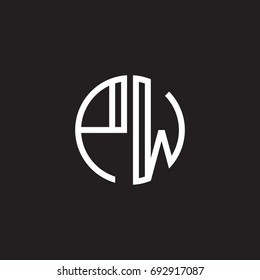 Initial letter PW, minimalist line art monogram circle shape logo, white color on black background