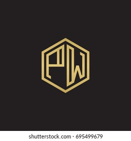 Initial letter PW, minimalist line art hexagon logo, gold color on black background