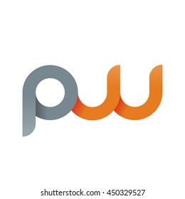 initial letter pw modern linked circle round lowercase logo orange gray