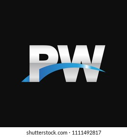 Initial letter PW, overlapping movement swoosh logo, metal silver blue color on black background