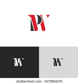 Initial Letter pw uppercase modern logo design template elements. red letter Isolated on black white grey background. Suitable for business, consulting group company.