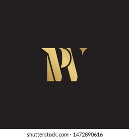 Initial letter pw uppercase modern logo design template elements. Gold letter Isolated on black  background. Suitable for business, consulting group company.