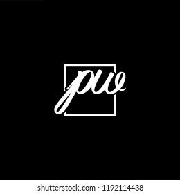Initial letter PW WP minimalist art monogram shape logo, white color on black background