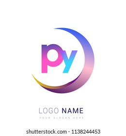 initial letter PY logotype company name, coloreful and swoosh design. vector logo for business and company identity.