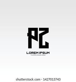 Initial letter PZ minimalist art logo vector