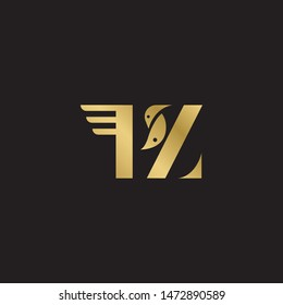 Initial letter pz uppercase modern logo design template elements. Gold letter Isolated on black  background. Suitable for business, consulting group company.