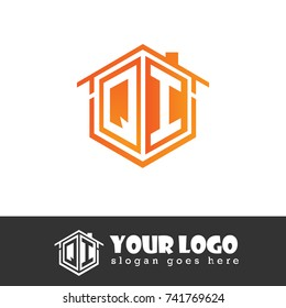Initial Letter Q, I, QI Hexagonal Shape Logo Design with House Home Icon
