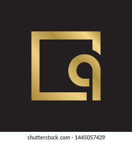 Initial letter q inside square lowercase modern logo design template elements. Gold letter Isolated on black  background. Suitable for business, consulting group company.