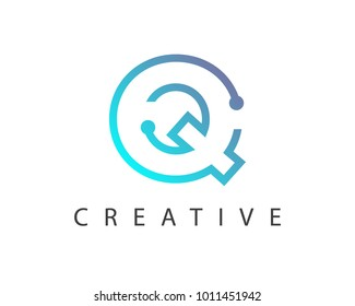 Initial Letter Q logo Connected circle symbol. Design Template Element